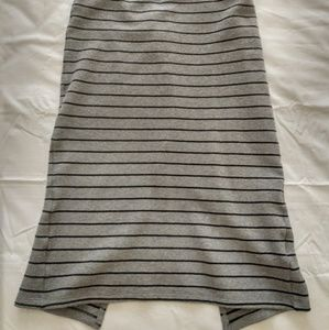 Long skirt with banded waist, Gray w black stripe